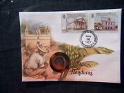 1980 Honduras Unc Coin 10 Centavos On Cover And Stamp