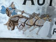 Original Vintage Hermes Carriage Auto Body Big Sign Graphic Horse Chariot Old