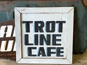 Original Vintage Trot Line Cafe Double Sided Wood Sign Cabin Lake House Patina