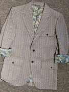 Vintage Marx Haas Clothing Co. Blue/gold Knit 2 Button Lined Sport Coat 40r 70and039s