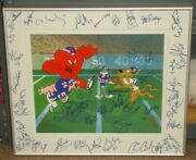 Warner Brothers Bugs Bunny 1986 Ny Giants Team Signed Le 175/250 Animation Art