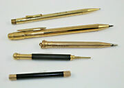 5 Vintage And Antique Mechanical Pencils Including Mabie Todd Co. 1851 And Conklin