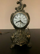 Vintage United Metal Goods Mfg Co Electric Mantel Clock Fully Functional Antique