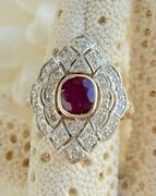 Cocktail Estate Red Ruby Gemstone And Diamonds In 18k White And Yellow Gold Ring