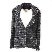 94a 40 Cc Button Single Breasted Long Sleeve Jacket Tweed Black 03911