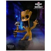 New Guardians Of The Galaxy Marvel Animated Style Groot And Rocket Raccoon Statue