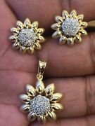 Pave 1.24 Cts Natural Diamonds Pendant Earrings Set In 585 Stamped 14karat Gold