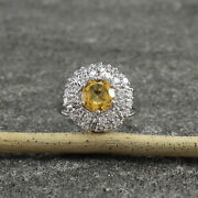 925 Sterling Silver Antique Natural Citrine Engagement Rings Ey104 Size Us 7.5