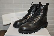 Authentic New Balmain Ranger Army Shiny Crinkled Leather Ankle Bootseu43/us10
