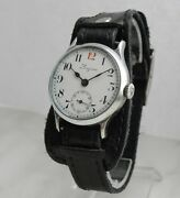 Rare Longines Wwi Cal.13.34 Military Officer's 12 Red Watch 1915 Enamel Dial