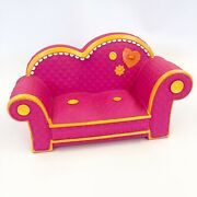 """Lalaloopsy Bright Pink And Orange Couch 11"""" Long Euc Also Fits Barbie + Blythe"""