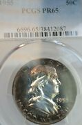 Pr65 1955 Pcgs Graded Franklin Silver Half Dollar Proof Cameo-look Toned Coin