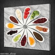 Health Spoons Herbs Veges Kitchen Wall Art Picture Canvas Print Ready To Hang