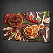 Kitchen Spices Herbs Spoons Modern Canvas Wall Art Print Picture Ready To Hang
