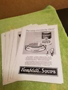 Vintage Lot Of 15 Advertising Print Ad Campbell's Soup Ads 1920's Tomato
