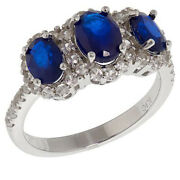 Hsn Colleen Lopez 1.53 Ctw Blue Spinel And White Zircon 3 Stone Ring Size 10