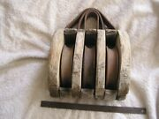 Antique Triple Barn Block And Tackle Wood Pulley Nautical Boat