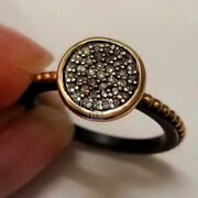 0.90cts Genuine Old Mine Rose Cut Diamond Silver Victorian Style Ring Jewelry