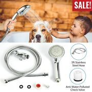 High Pressure Handheld Shower Head With Hose 5 Spray Settings Adjustable Angle