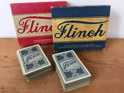 Pair Vintage 1930s Parker Brothers Flinch Card Game Original Box W/ Instructions