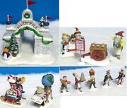 Dept 56early Rising And Snow Cone Elves, Np Gate, Charting Course For Santa As Is