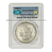 1886-o 1 Silver Morgan Pcgs Ms65+ Cac Certified Pq Approved Illinois Set Coin