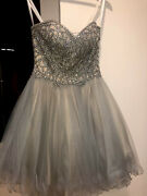 Terani Couture Dress Size 0 Women Short Only Worn Once Diamond Design Grey/nude