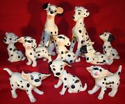 Enesco Large 101 Dalmatians 1961 Ceramics Set-complete With Name Tags And Labels
