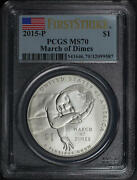 2015-p March Of Dimes Silver Dollar Commemorative Pcgs Ms-70 First Strike