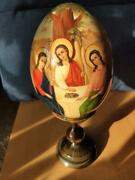 Big Russian Hand Painted Icon Egg Wood Signed Exquisite Detail Rare Lacquer Holy