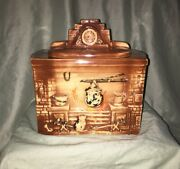 Rare Vintage Mccoy 1941 Usa Cookie Jar Fire Place Brown With Mantel Clock