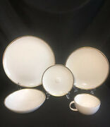Vhtf New Discontinued Calvin Klein Metallic Basso Gold 5 Piece Place Setting