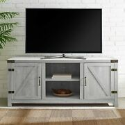 Farm Style Country Farmhouse Barn Door Tv Up To 64 Stand Cabinet Stone Grey
