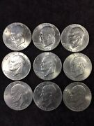 1776-1976 Eisenhower One Dollar Coin Lot 9 Liberty Bell Usa Collectible Vintage