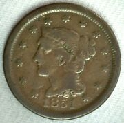1851 Braided Hair Us Large Cent Coin 1c Us Coin Good Circulated Penny