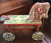 Antique1900's Metal Masters Wooden Horse Push Pull Toy Tin Wheels Litho