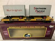 ✅custom Mth Premier Ttx Flat Car W/ Burlington And Southern Pacific Pup Trailers