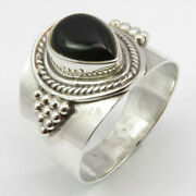 Cheapest Shipping Sterling Silver Drop Cabochon Black Onyx Ring Size 8