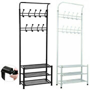 Metal Hat And Coat Stand Clothes Shoe Rack Hangers With Hooks Shelves 18 Hooks Uk