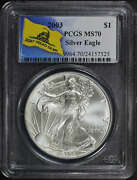2003 Silver Eagle Pcgs Ms-70 Don't Tread On Me Label