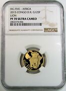 2015 Gold Congo 300 Minted 125 Franc Big 5 Africa Lions Ngc Proof 70 Ultra Cameo