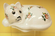Vintage 1960s White 8 3/4and039and039 Large Glazed Ceramic Cat Figurine Floral Design