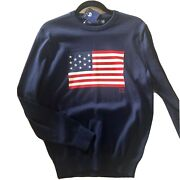 Polo American Flag Golf Knit Sweater Mens Small Nwt Navy Blue