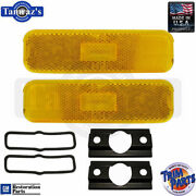 70-73 Camaro Correct Front Side Marker Lamp Light Amber Pair - Made In The Usa
