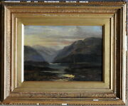 Alfred Bell 1832-95 Antique Original Oil Painting Sunset Loch Maree Scotland 1