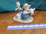 Homco 1985 8878 Boy And Girl W/ Cow