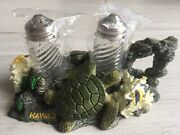 Hawaii Salt And Pepper Shakers Green Sea Turtle Coral Reef Butterfly Clown Fish