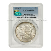 1894-o 1 Morgan Silver Dollar Pcgs Ms65+ Gem Coin Cac Illinois Set Finest Known