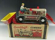Marx 1950and039s Climbing Tractor Set Sparkling Tin Mib Windup Toy Perfect Orig Box