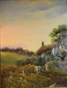 19th Century Landscape Painting With Cottage And Flowers